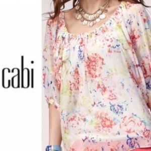 Cabi Floral Watercolor Blouse S EUC